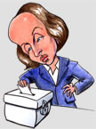 Caricature of Shakespeare voting at ballot box