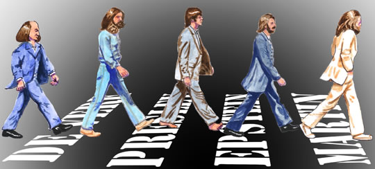 Caricature of Beatles on Abbey Road crosswalk followed by Shakespeare, the crosswalk stripes the names De Vere, Presley, Epstein and Martin