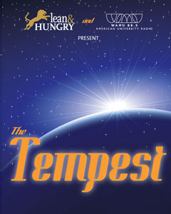 Poster of Lean & Hungry's The Tempest, with a sun dawning over a planet on a starry blue field