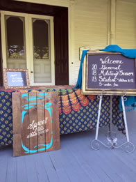 Photo of Sweet Tea signs on Poe House porch