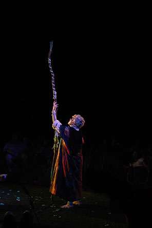 Production photo of Prospero casting a spell with his staff pointing up into the night sky.