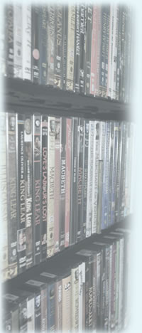 Collection of DVDs in bookcase