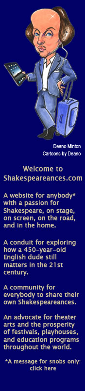Caricature of Shakespeare, with column showing mission statement of shakespeareances.com from home page