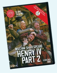 DVD box cover, picturing Falstaff fighting with Fang and Mistress Quickly