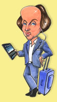 Caricature of cool Shakespeare with iPad, iPod and suitcase